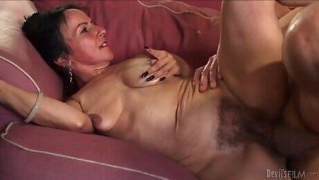 Horny granny Miss Nina Swiss with hairy cunt